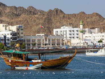 Boat in the harbour, Muscat